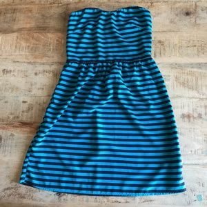 Urban Outfitters Blue Stripe Strapless Dress